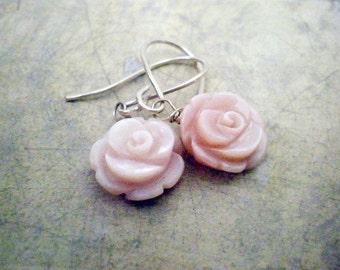 Mother of Pearl carved rose earrings, Light pink flower earrings, sterling silver dangle earrings