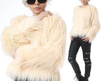 RTBU Punk Rock Runway Vegan Shaggy Faux Fur Furry Raglan Top Pullover Sweatshirt