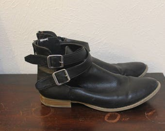 Black Leather Ankle Boots Size 9
