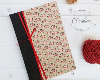Small Notebook,  black, red and gold