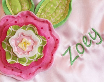 personalized Large Fluffy Blanket - minky satin 3d flower embroidery newborn gift photo prop baby blanket monogram