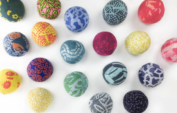 Set of 5 Hand Made Fabric Balls