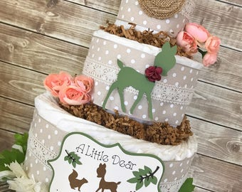 A Little Dear is Almost Here Diaper Cake, Shabby Chic Baby Shower Centerpiece, Vintage Baby Shower Decor
