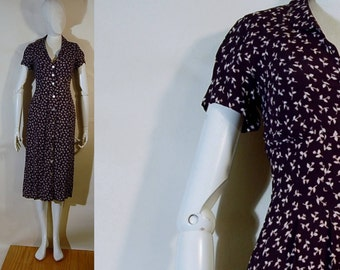 1980s-1990s Rayon button front vintage look Barami dress size 2