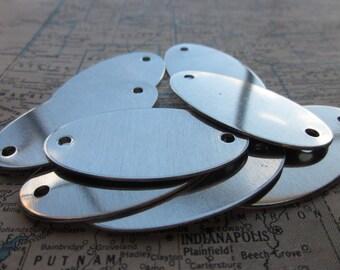 8 Large TUMBLED Aluminum Oval Blank Tags