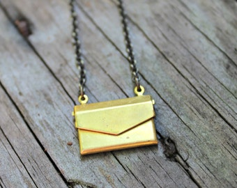 Mini Brass Envelope Necklace on 16 inch Brass Chain