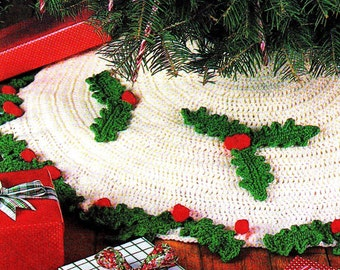 INSTANT DOWNLOAD PDF Vintage Crochet Pattern   Christmas Tree Skirt  Holly