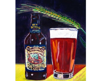 Sierra Nevada Brewing Art, California Beer Poster, Ruthless Rye IPA, Craft Beer Gift, Anniversary Gift for Him, Kitchen Beer Print, Bar Art
