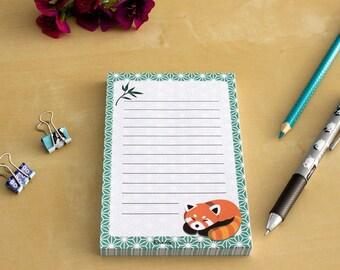 Lesser Panda Notepad - To Do List, Shopping List, Planner - Lesser Panda, green, cute stationary
