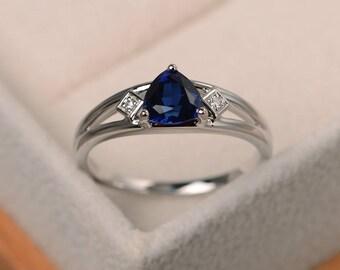 Blue sapphire ring, engagement ring, trillion cut gemstone, September birthstone, sterling silver ring