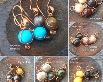 Simple Rounds, Copper and Your choice of Gemstone earrings, ThePurpleLilyDesigns