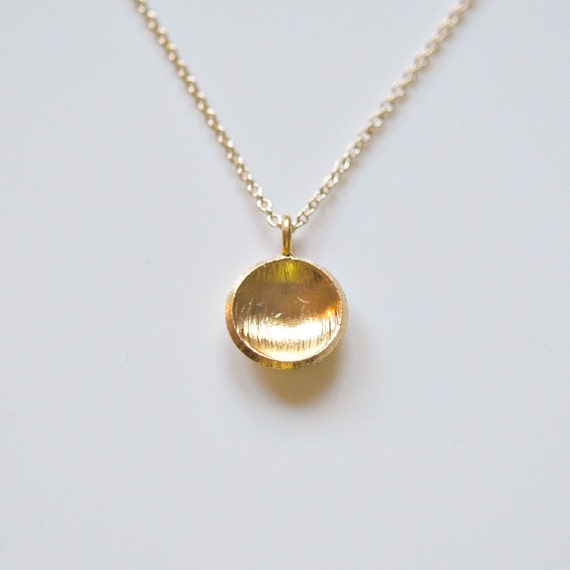 Round gold pendant necklace disk necklace sterling silver or aloadofball Images