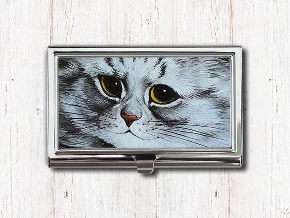 Gray cat business card case business card holder card case colourmoves Choice Image