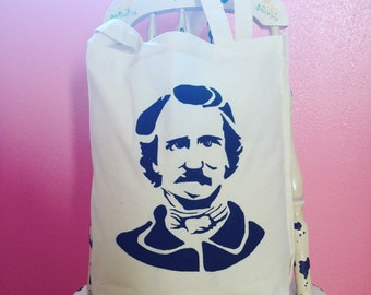 Edgar Allan Poe Tote Bag Hand Painted Stencil