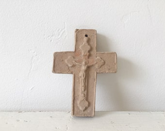 Vintage Mexican Clay Cross / Mexico / Rustic Religious Decor