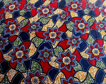 African fabric 100% WAX cotton flowers patterned red, blue, yellow, Khaki with 0.50 m