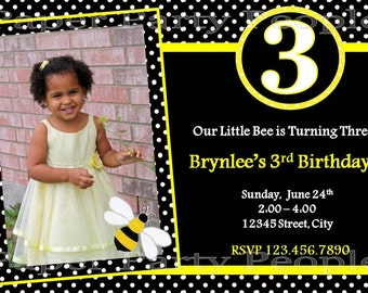 Personalized DIY Bee Birthday Party Invitation - Bumblebee