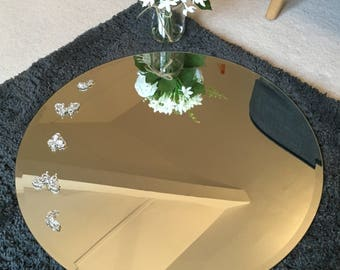 Circular Mirror Hand Decorated with Diamante Feather & Butterfly Embellishments