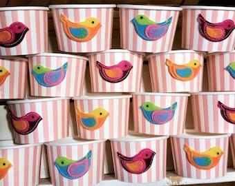 24 Felt bird pink striped 8oz paper cups/bowls - 200ml ice-cream/gelato cups - wedding/baby shower/birthday snack/treat/dessert party cup