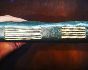 Handbound Leather Journal   Hummingbird   long stitch binding   Tea Dyed Paper