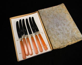 Six Hard-to-Find Apricot-Colored Bakelite Fruit Knives in Original Box