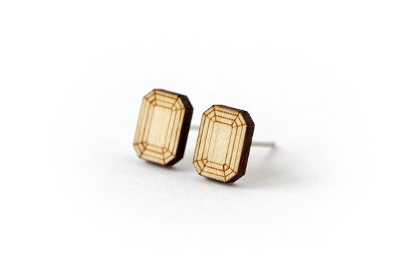 Emerald stud earrings - tiny post earrings - mini jewelry - graphic minimalist jewellery - lasercut wood - hypoallergenic surgical steel