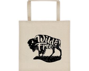 Wild and Free Tote Bag, Buffalo Tote, Canvas Tote
