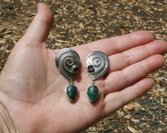 Swirl Sterling Sajen Post  Earrings with Amethyst and Azurite plus Free USA Shipping