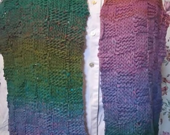 Hand knitted scarf, Autumn shades rainbow colours . Unique.