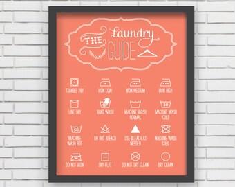 Home Decor Orange Laundry Room Art Print - 8x10 or 11x14
