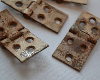 White Chippy Salvaged Industrial Metal Hardware Hinges