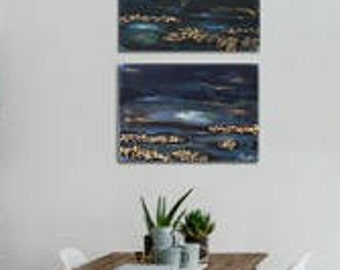 """Two acrylic paintings on canvas with Woodchips,23,62""""x15,74""""60x40cm Canvas wallArt Handmade by Andrea Janssen"""