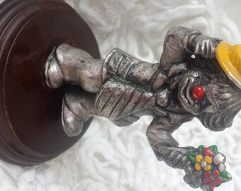 Miniature Clown Pewter by George Good figurine flowers