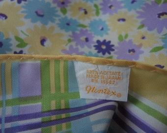 vintage 1960s Glentex scarf pastel floral and plaid acetate made in Japan 27 x 27 inches