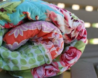 Picnic Quilt,  Rag Quilt, Amy Butler, Love, Mint, Tangerine Orange, Pink, and Aqua Blue, polka dots, Handmade, All Natural