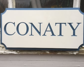 Family Name Plate Personalized - Last Name - Custom Carved Signs - Any color