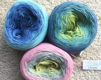 Stash Clearance-Color Changing Cotton Yarn (1440 Grams): Blue, Green, Pink and Gray Colors
