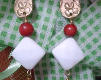 Pendant earrings Red leaf white hard stones and brass dangling earrings gift for her gift for her