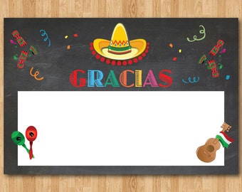 Fiesta Thank You Note. Gracias thank you card. Kids Birthday Party. Chalkboard. Printable digital DIY. Instant download. Print your own.