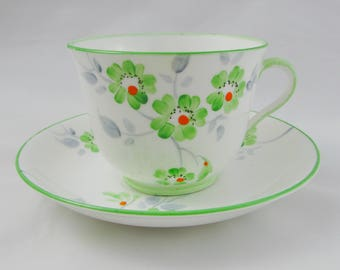 Phoenix China Hand Painted Tea Cup and Saucer with Green Flowers, Vintage Bone China