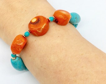 Bracelet with turquoise and coral stones