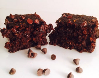 Double Chocolate Brownies, Chocolate Chips, Gluten Free, Dairy Free, Soy Free, Low Sugar, Low Calorie, Low Fat, Natural Ingredients