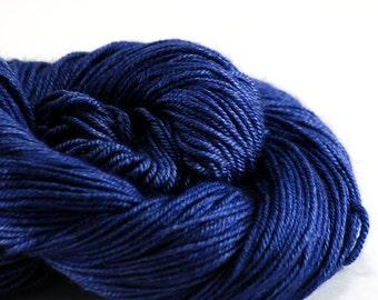 Blue Hand-dyed Silk Sock Shawl DK Weight Yarn, hand dyed BFL silk, shawl yarn, sock yarn - Royale