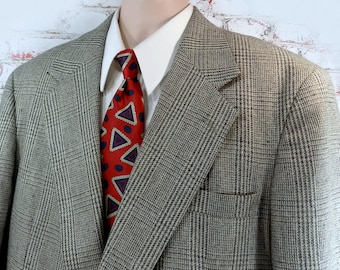 Hounds Tooth Sport Coat -men's Sport coat, grey beige sport coat -men's hounds tooth coat, men's sports jacket, size 48 .   # 110