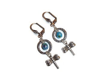 Dragonfly. Silver Ring Dragonfly Earring. Turquoise Czech Glass. Leverback E24