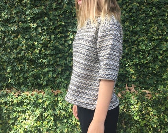 Womens tweed shirt, woven blouse, tweed metallic pullover shirt (Maggie tweed)