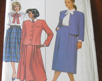 """Vintage 1986 Butterick """"Evan-Picone""""sewing pattern for Misses/Misses petite Jacket,Skirt & Blouse.Uncut and factory folded.Butterick 4018."""