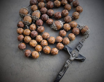 Large Antique 1800s Carved Wood Rosary Chaplet / Antique Catholic Relic