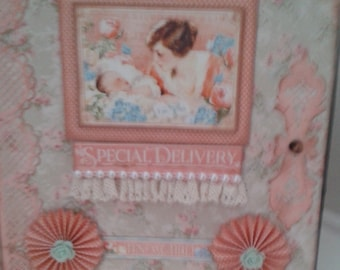 Baby Girl photograph album using Graphic 45 papers,size 7inches x eight inches