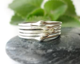 Silver Raindrops Stacking Rings